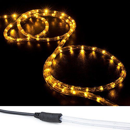 Wyzworks 100 Ft Orange Amber Preassembled Led Rope Lights 2 Wire Christmas Holiday Decoration Indoor Outdoor Lighting Ul Led Rope Lights Led Rope Rope Light