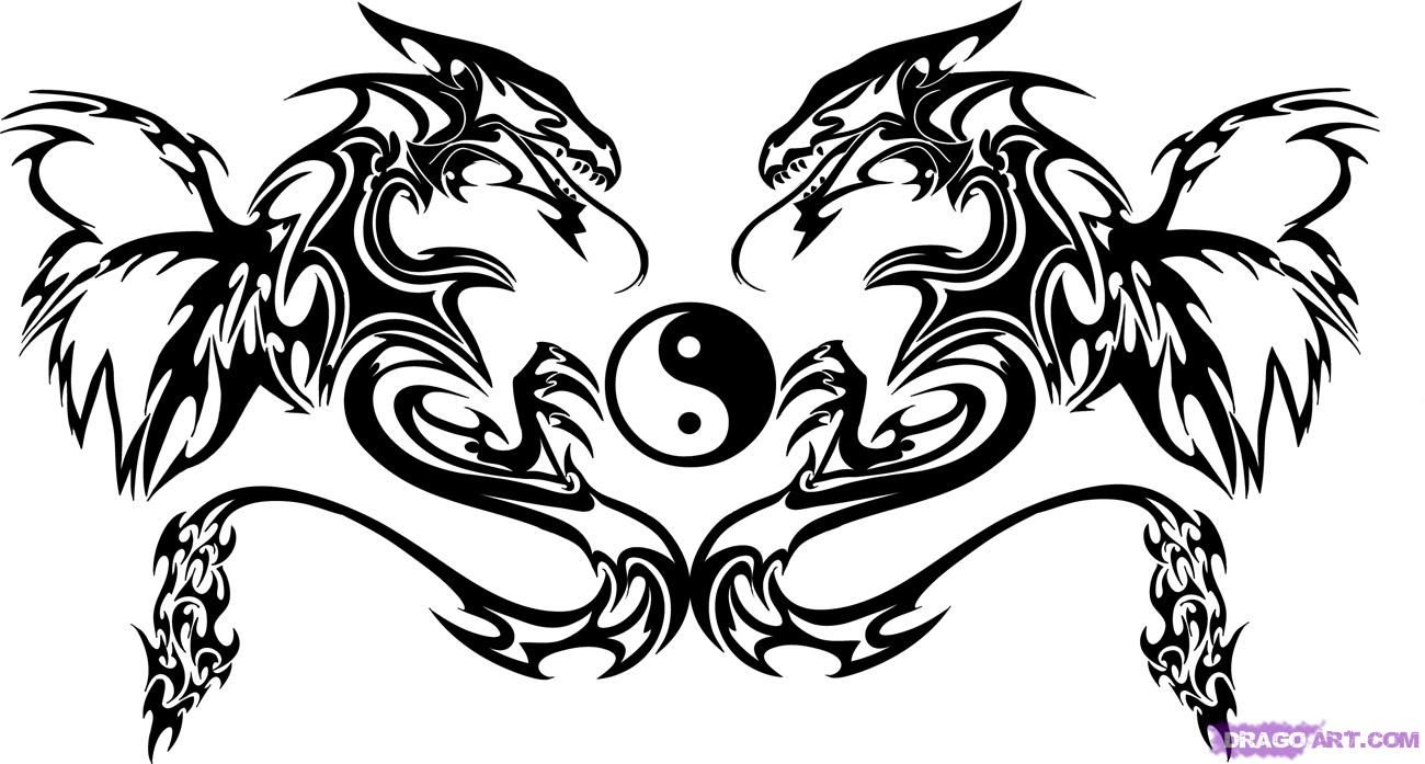 How to Draw Twin Dragon Trible Art, Step by Step, Tribal