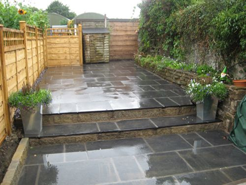 Black Indian Stone Two Tiered Pation Garden Patio Design