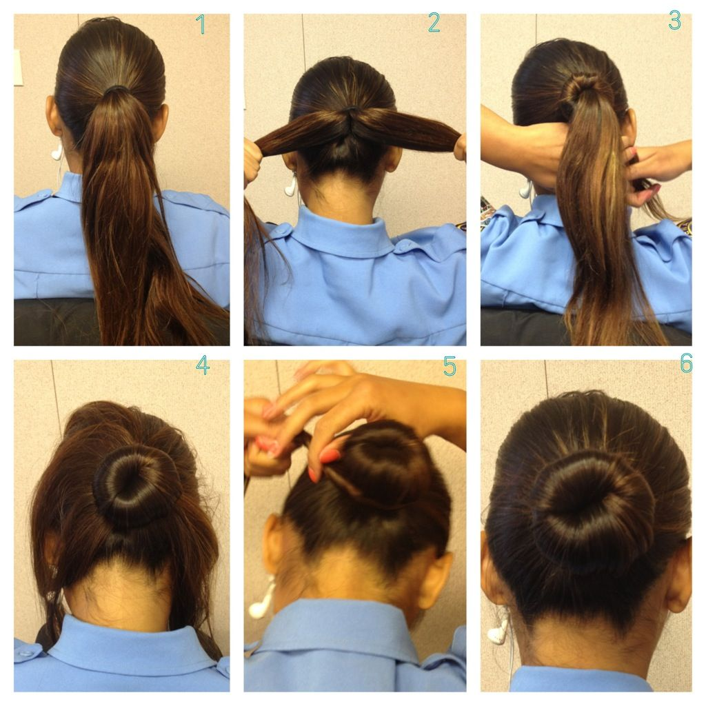 military bun for long/thick hair without using a sock - good