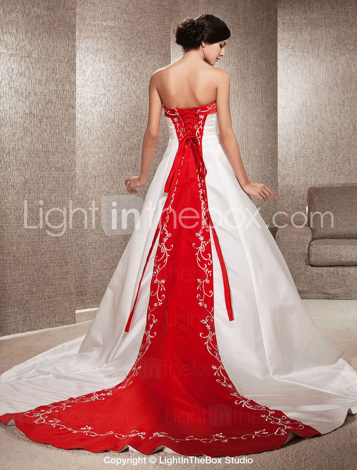 Stunning Satin Wedding Dress A Line With Chapel Train Red Panel In