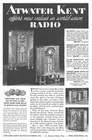 Atwater Kent Radio 1934 Ad. Models 318-K, 325E, 825, 145. New values in world-wave radio. AC-DC Broadcast and Police Model 825. Foreign Short Wave and Broadcast Models 325E and 145. All-Wave Model 318-K. These, and all of the 23 others, from the smallest compact to the greatest console, bring you a more truthful tone. Mentions the new Atwater Kent Doublet Antenna. Electronics. Stock Number: 10116.