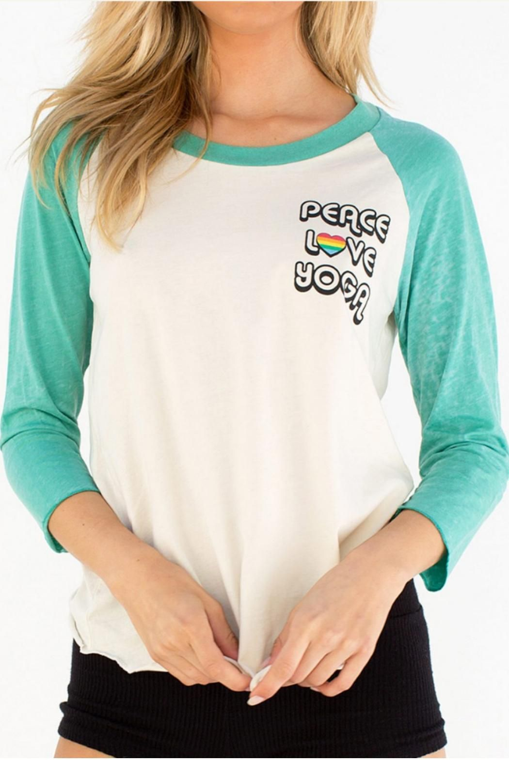 Peace Love Yoga Raglan Stardust. Your favorite lightweight baseball tee is back. Vintage inspired with contrasting 3/4 sleeves and beautiful graphics.   Jade Raglan Top by SPIRITUAL GANGSTER. Clothing - Tops - Tees & Tanks Netherlands