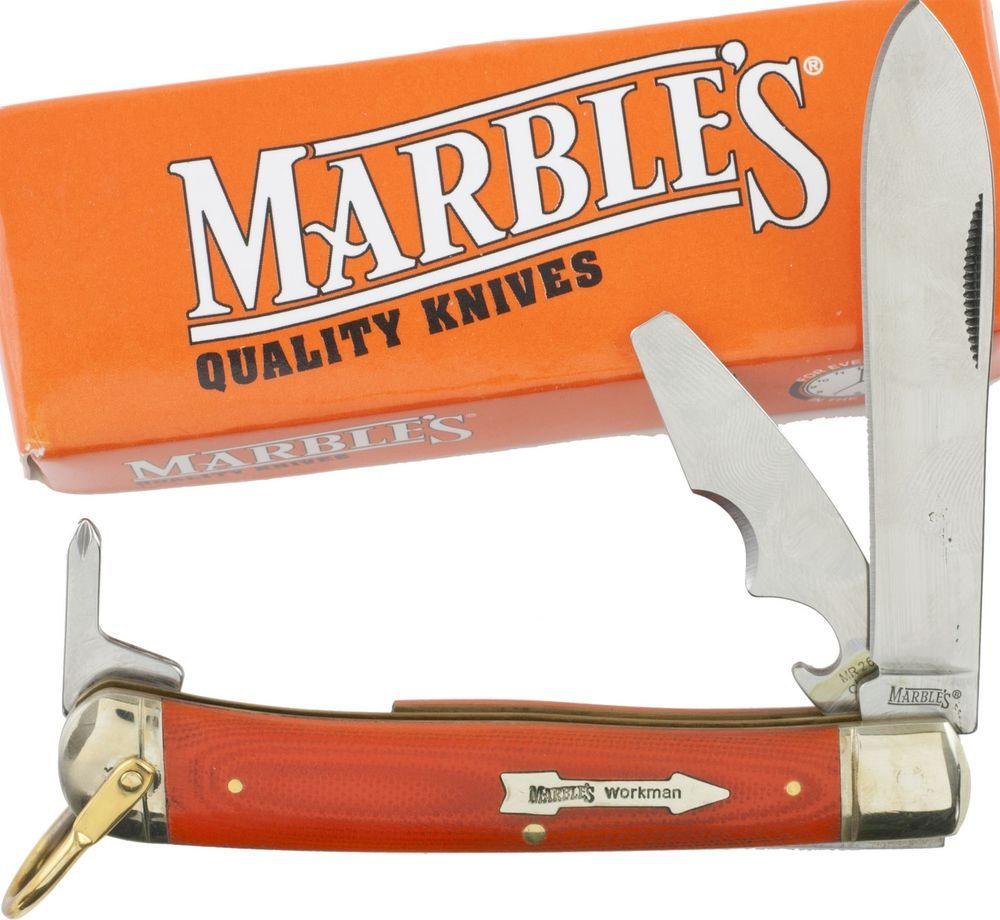 Marbles Workman Series Orange G 10 Handles Trapper Knife Screwdriver Mr264 Knife Trapper Knife Folding Knives