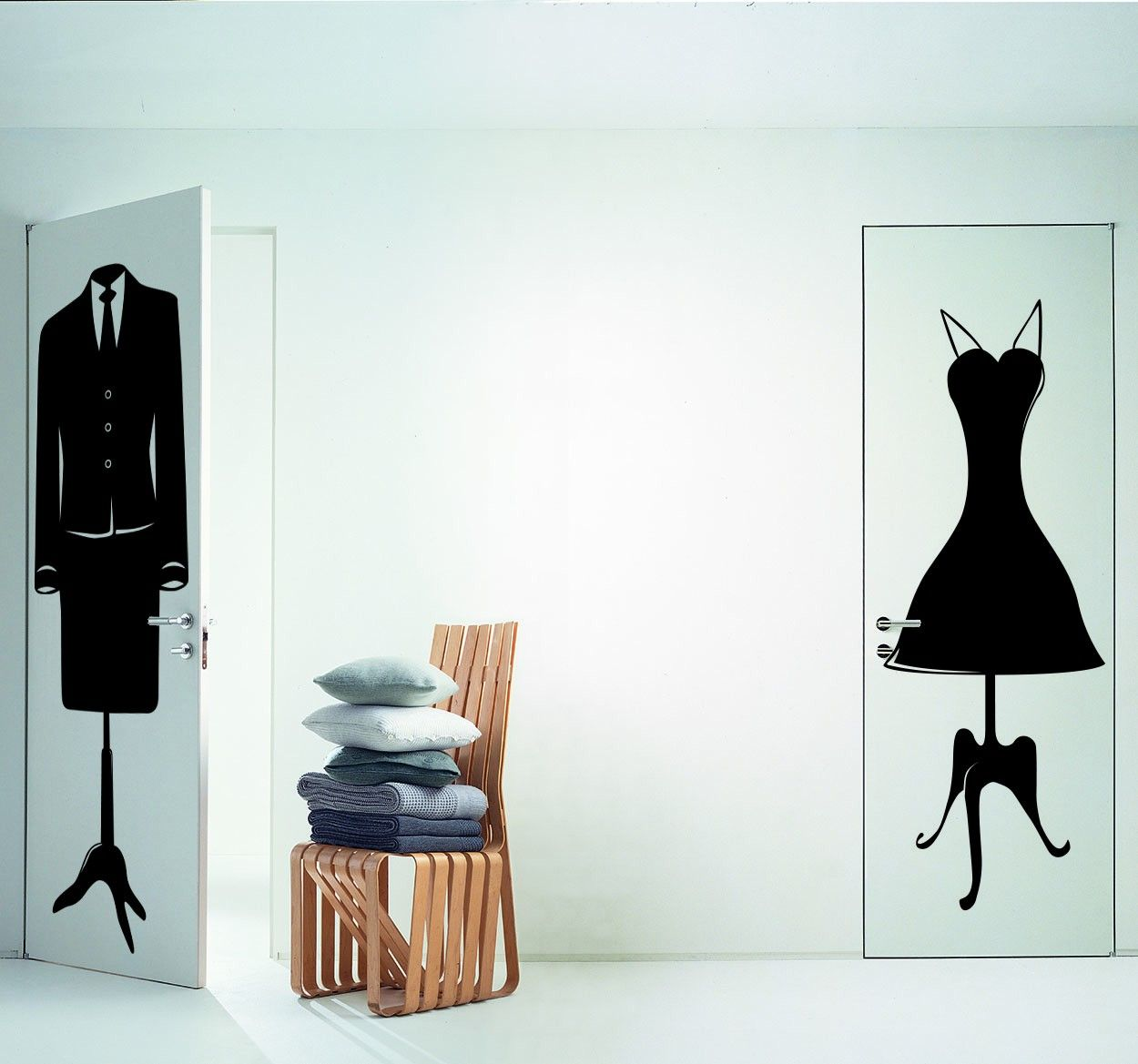 Transform your wardrobe doors with these stylish mannequin stickers! A silhouette style is perfect for creating a classic look. #Fashion #Clothes #Stickers