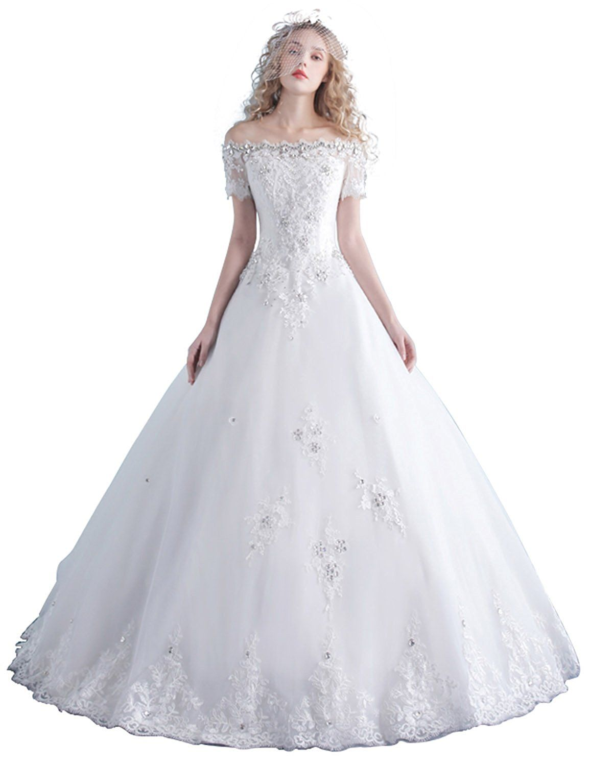 Aimo womenus long rhinestones bateau short sleeves wedding dresses