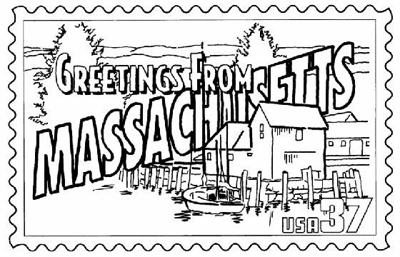 Massachusetts State Stamp Coloring Page | massachsetts project ...
