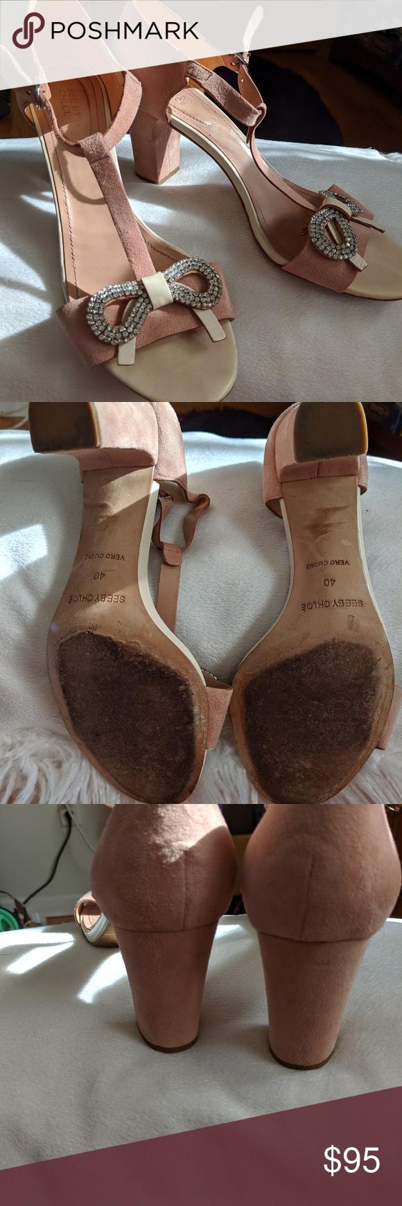 See by Chloe shoes Blush suede block heels w rhinestones See By Chloe Shoes Heels #seebychloe See by Chloe shoes Blush suede block heels w rhinestones See By Chloe Shoes Heels #seebychloe