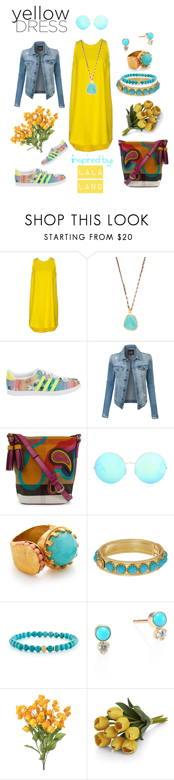 """In La La Land: Yellow Dresses"" by michele-nyc ❤ liked on Polyvore featuring Aniye By, Native Gem, adidas, LE3NO, Burberry, Victoria Beckham, Ottoman Hands, Tory Burch, Lagos and ZoÃ« Chicco"
