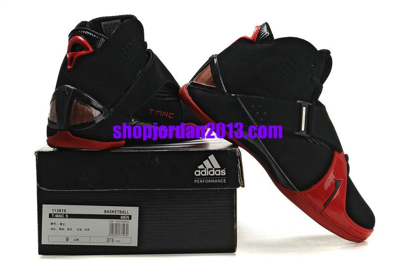 Adidas T Mac 5(V) Tracy McGrady Shoes Black Red Cheap NBA Basketball Shoes   Red  Womens  Sneakers 05223bb72
