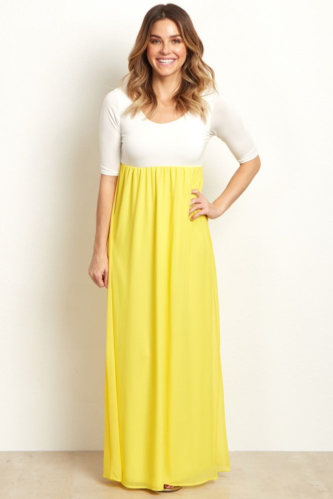 13746a16f0f51 Yellow Chiffon Colorblock Maternity Maxi Dress | Maternity photos ...