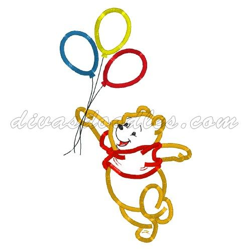 Winnie The Pooh With Balloons Machine Applique 4 00 Disney