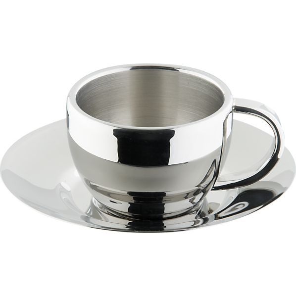 83f7f978bf2 Stainless Steel Espresso Cup with Saucer in Coffee Mugs, Teacups | Crate  and Barrel $9.95