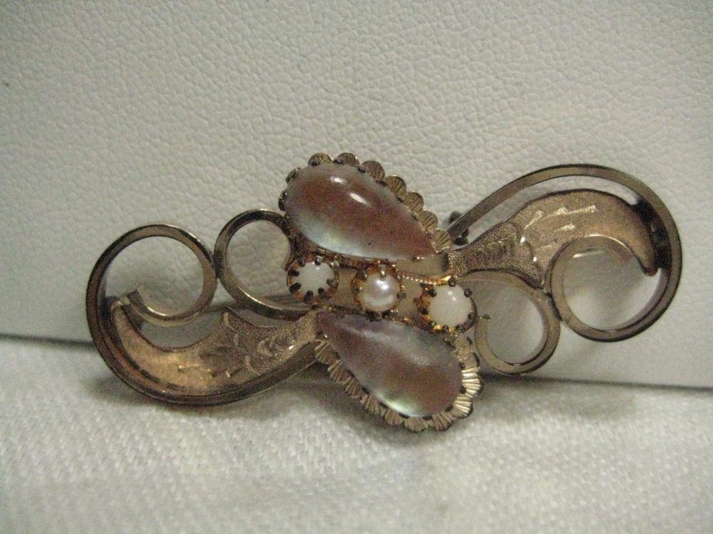 Antique Victorian SAPHIRET GLASS Jewel Brooch Pin Vintage