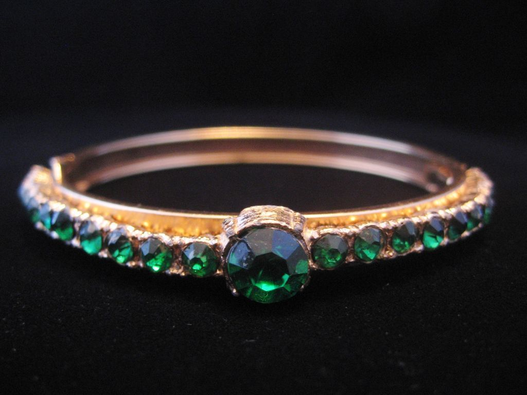Vintage Goldtone Bangle with Emerald Green Rhinestones