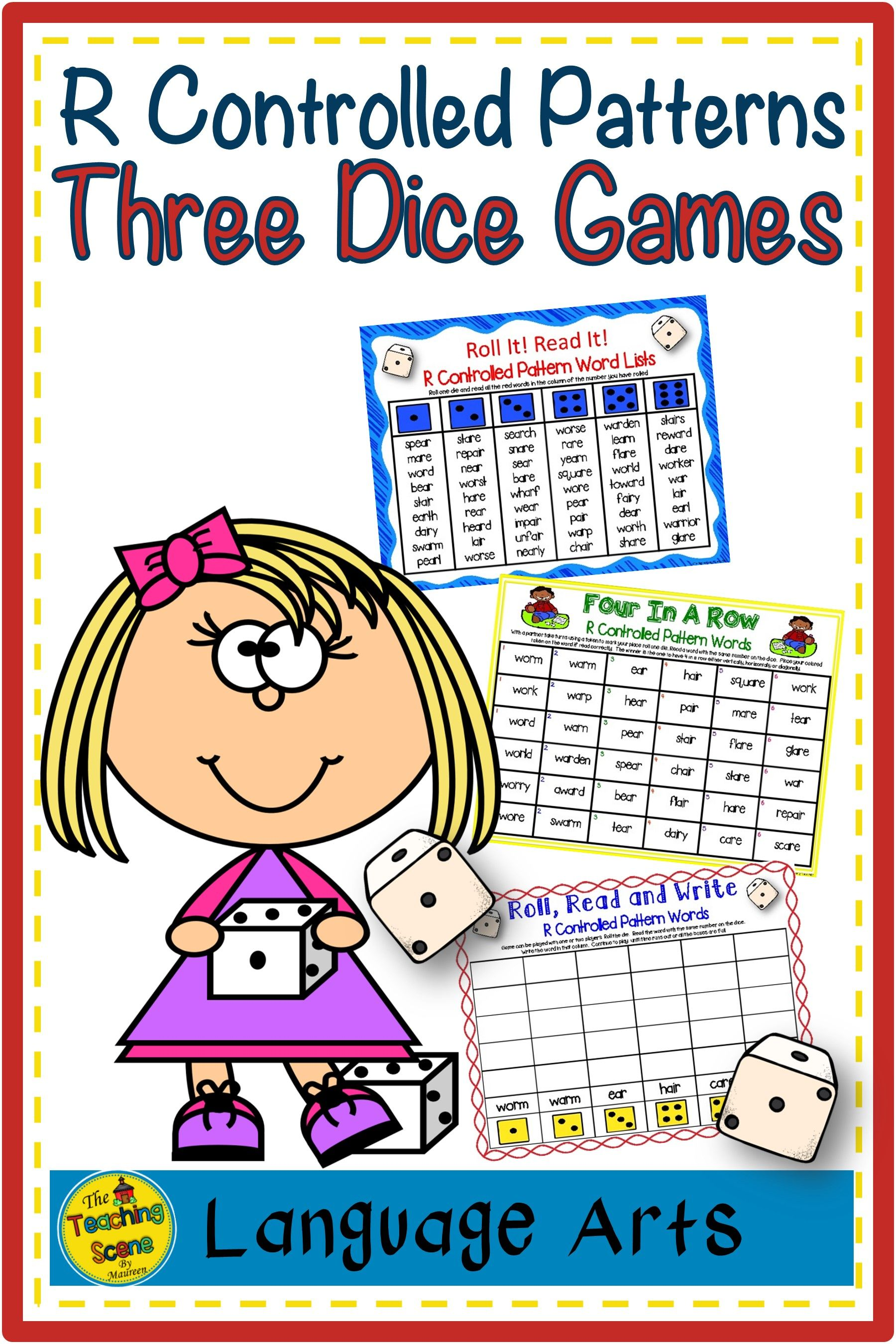 Three Phonics R Controlled Patterns Dice Games War Wor