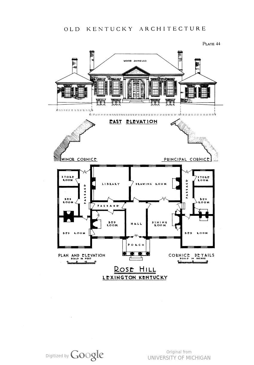 Old Kentucky Architecture Colonial Federal Greek Revival Full View Hathitrust Digital Library Vintage House Plans Greek Revival House Floor Plans