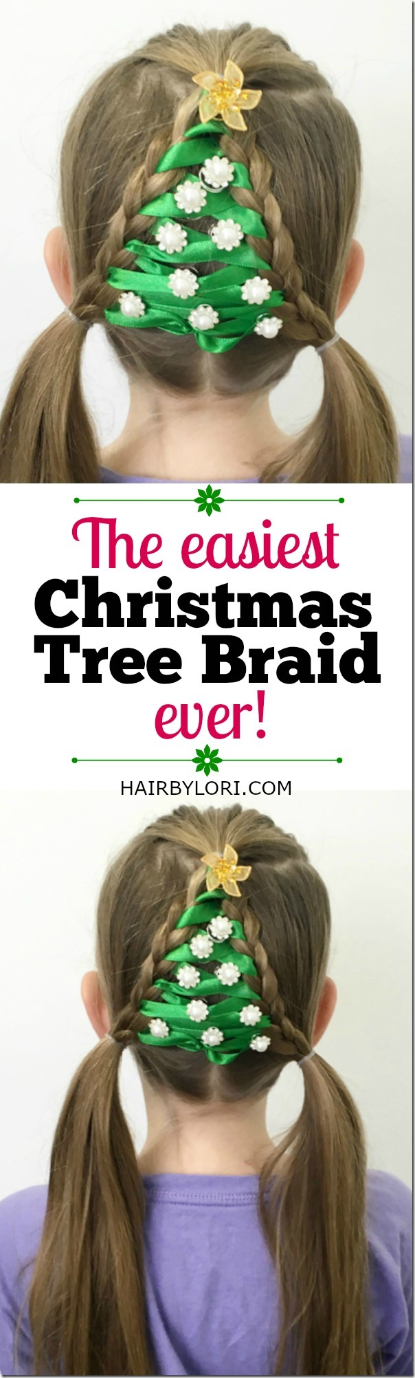 The easiest christmas tree braid ever christmas pinterest hair