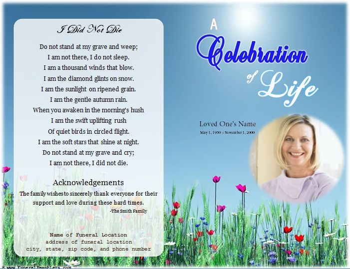 loading Memorial Celebration of Life Ideas Pinterest - free funeral program template