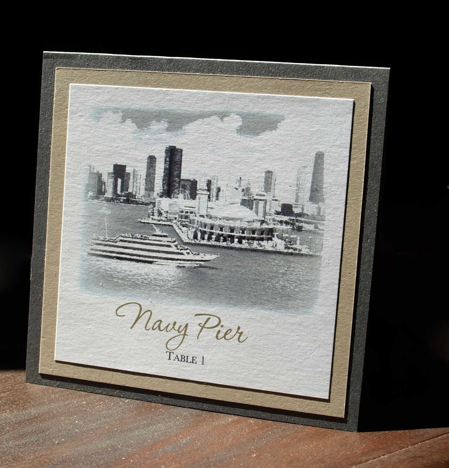 Chicago Landmark Table Number Taupe/Grey/White. 2.00