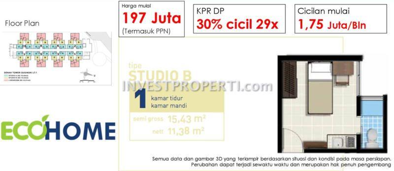 Apartemen Ecohome Citraraya Tangerang Dijual Rp 197 Jutaan