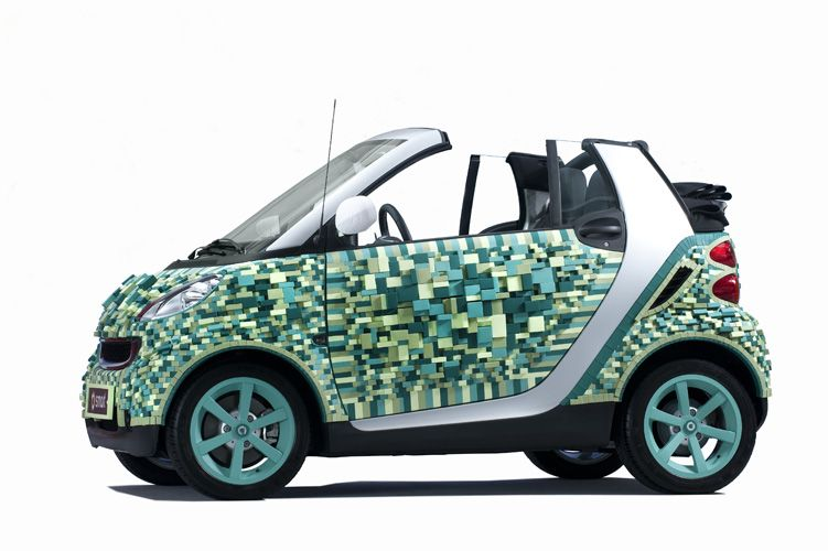 artist sarah illenberger creates pixelated cardboard smart car