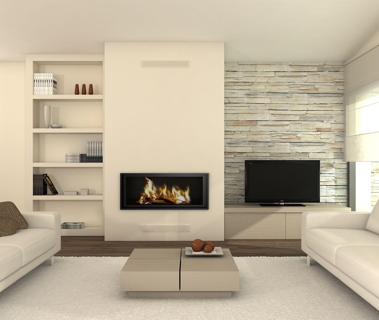 Sal n con chimenea moderno y precioso foyer for Salon completo moderno