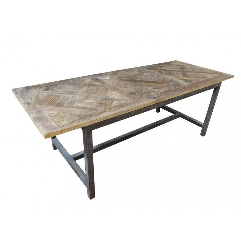 Dining Table With Parquetry Top In Reclaimed White Elm And Steel