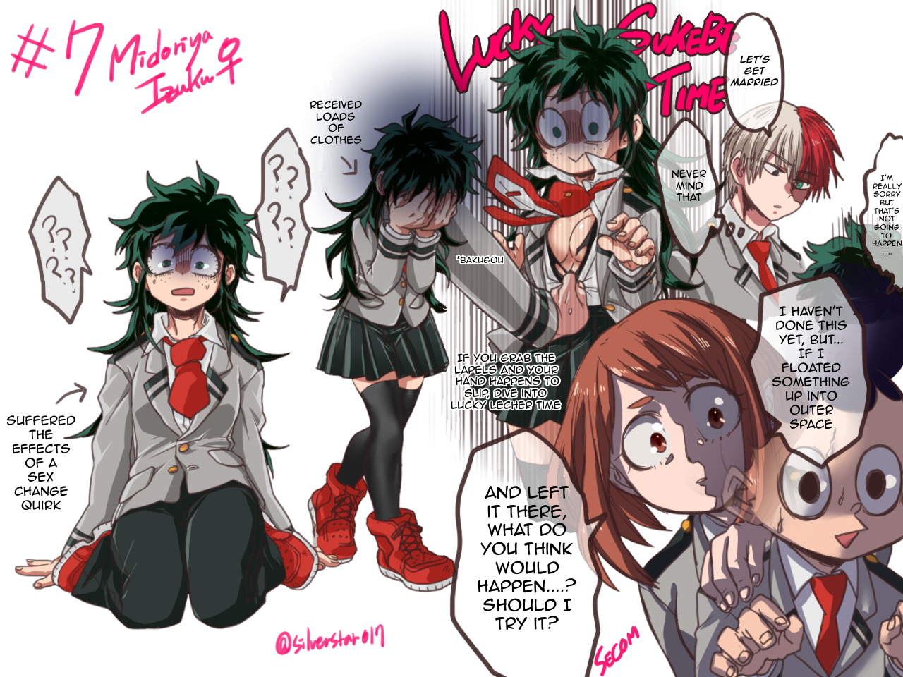 Part 1 of Fem!DekuSource: シルヴァー(I've been wanting to translate this one forever, but I couldn't manage the redraw on my own. Thank you to the redrawer, you know who you are!)