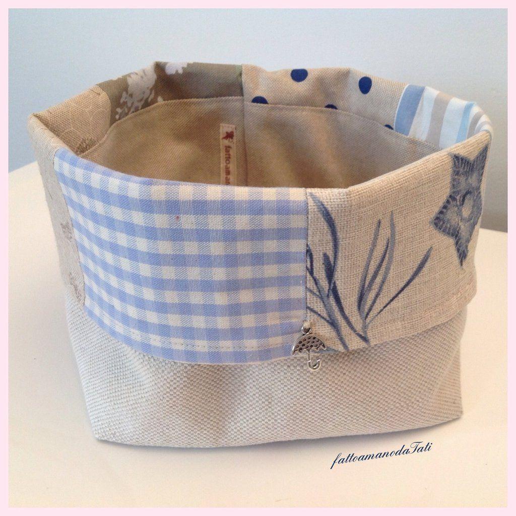 Cestino portapane patchwork in cotone sui toni dell'azzurro ed ecrù , by fattoamanodaTati