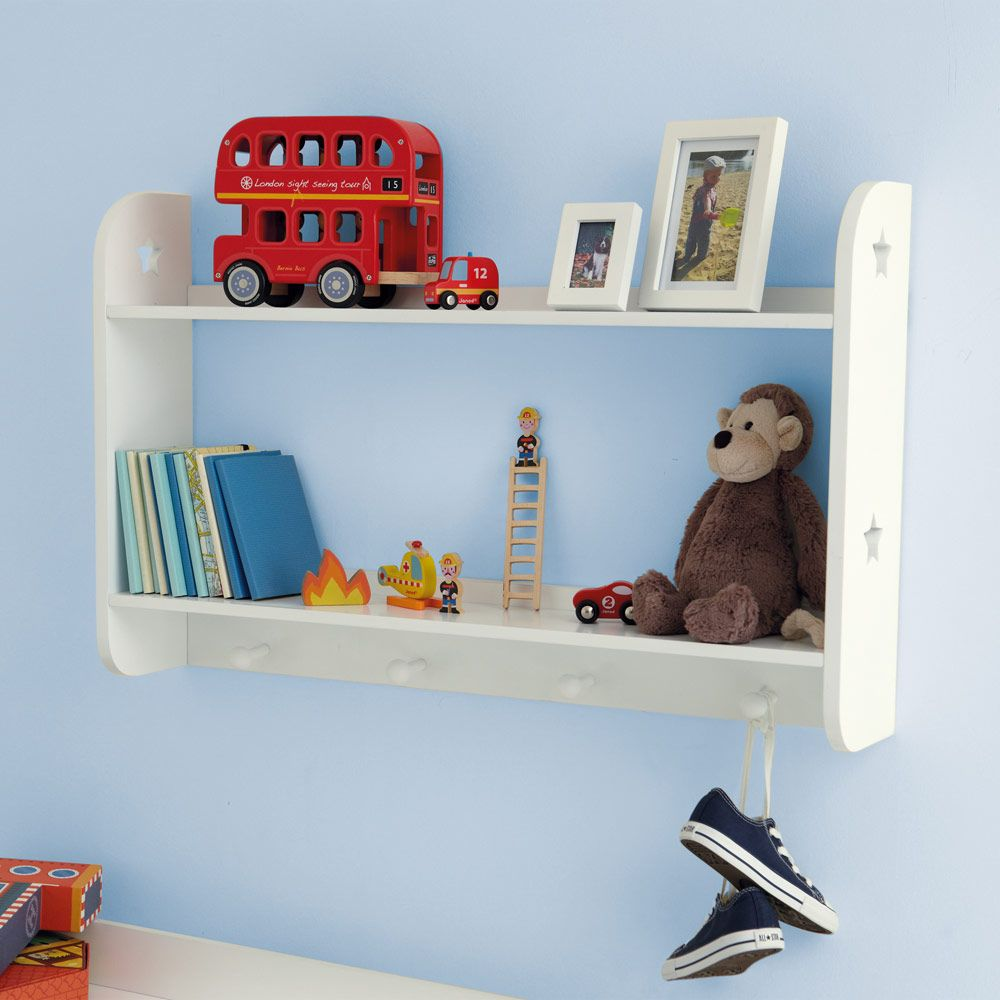 Star wall shelves with hooks bookcases bookshelves for Bookcases for kids room