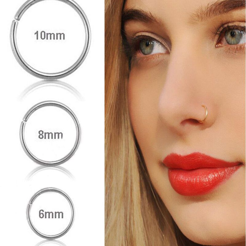 Small Silver Nose Hoop Rings Stud 6mm 8mm 10mm Cartilage Piercing