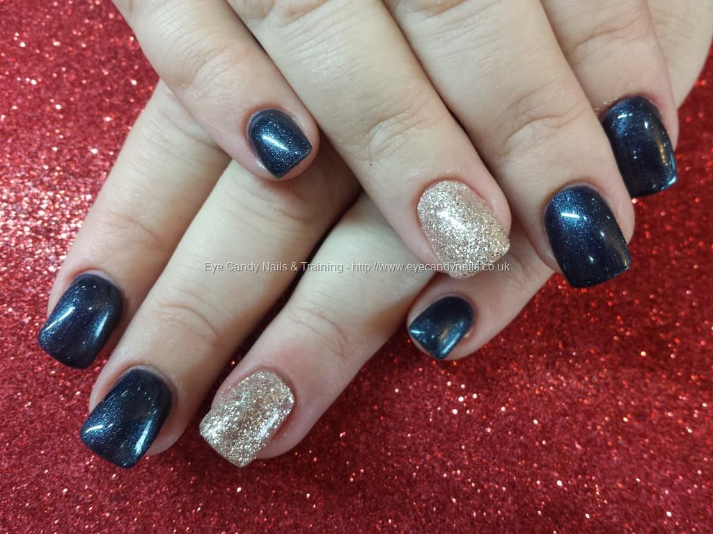 Nails-Navy blue and silver glitter gel polish | Prom | Pinterest ...