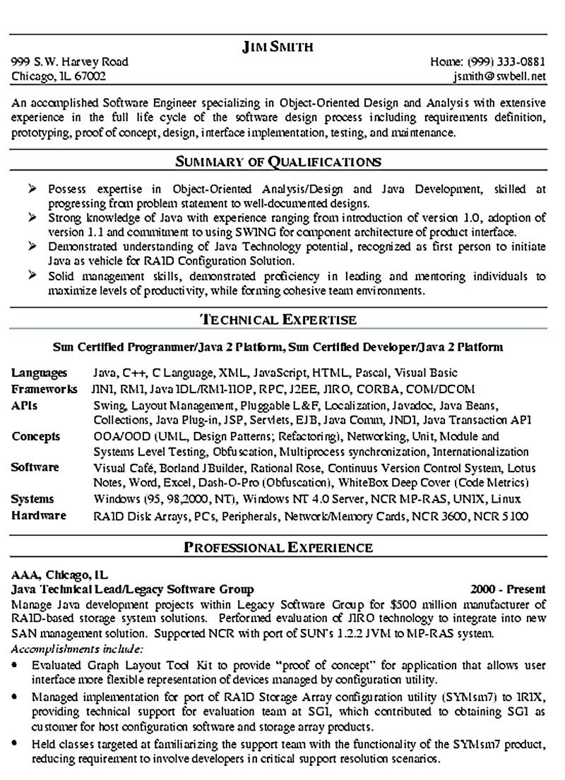Software Engineer Resume Sample Software Engineer Resume Includes Many Things About Your Skills