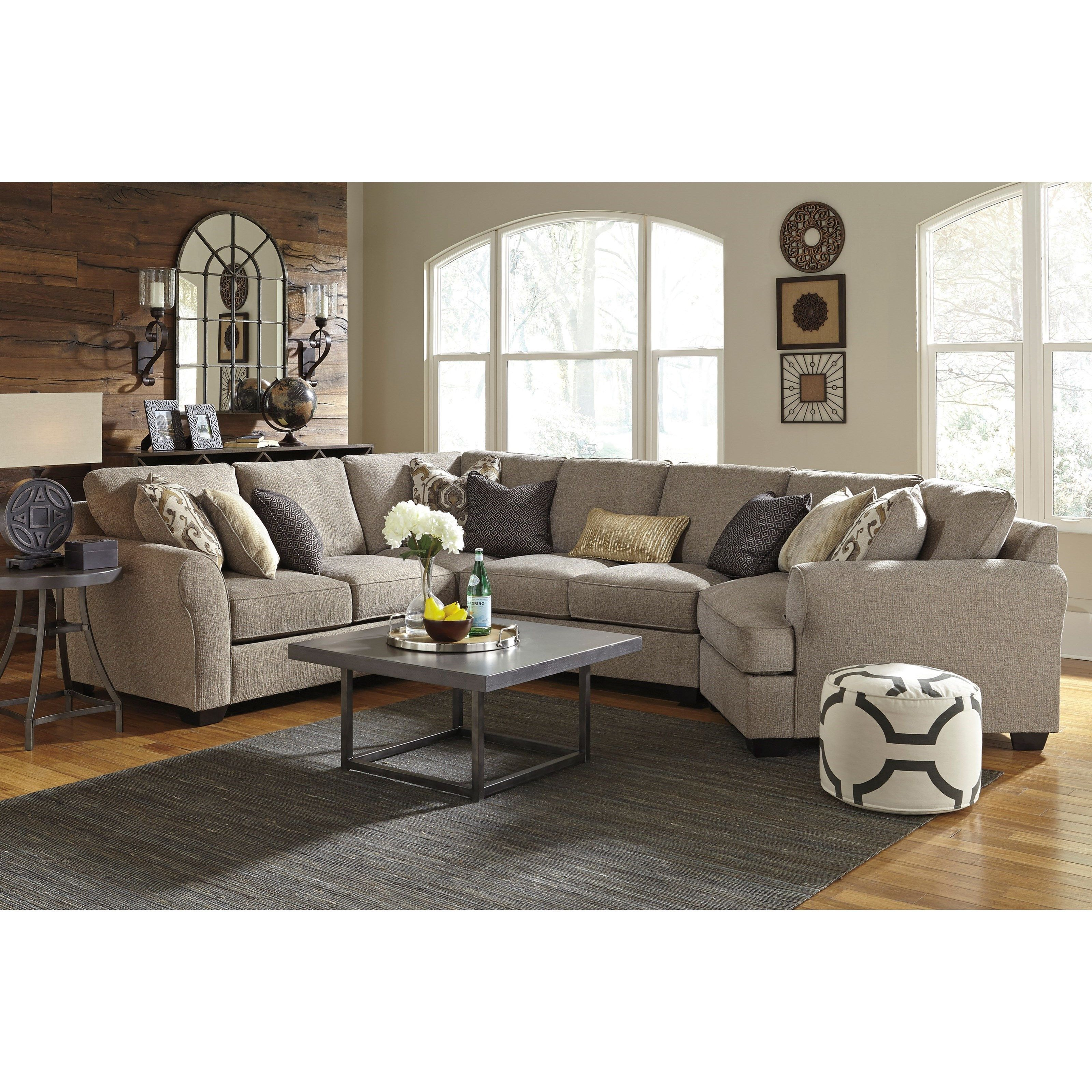 Pantomine 4 Piece Sectional With Right Cuddler By Benchcraft Cheap Living Room Sets Living Room Grey Furniture Layout