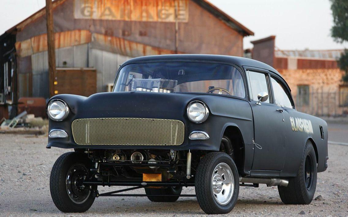 Mike Finnegan's Chrysler hemi powered '55 Chevy, BlaspHemi ...