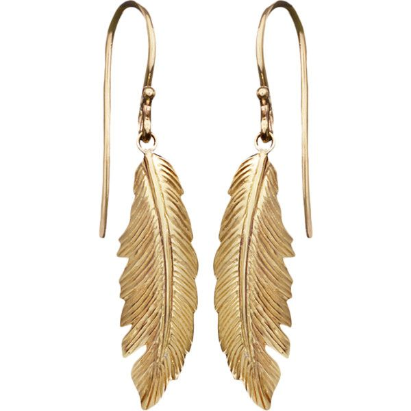 Yellow Gold Feather Earrings Gold Feather Earrings 14k Yellow Gold Jewelry Feather Earrings