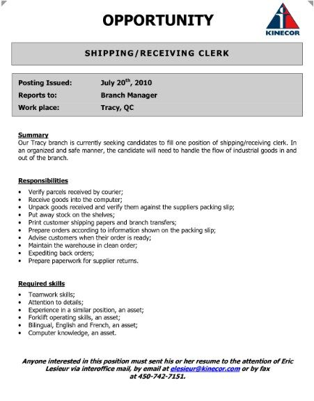 Shipping Receiving Clerk Resume -    topresumeinfo shipping - latest format resume