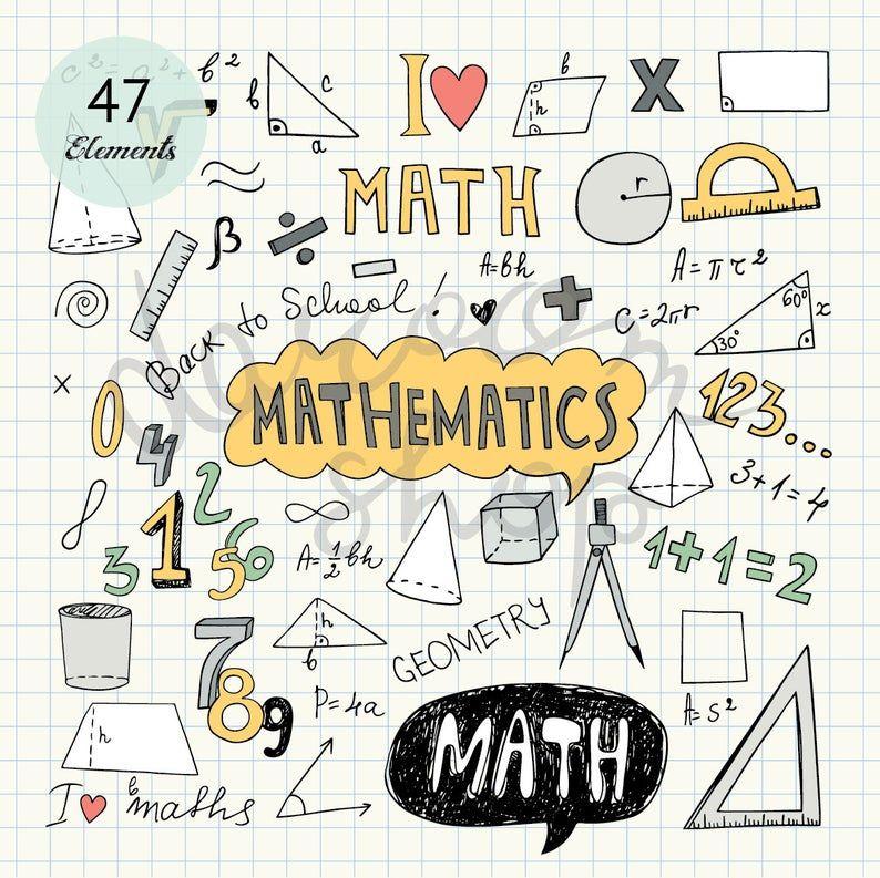 Hand Drawn Mathematics Clip Art Math Elements And Symbols Back To School Doodle Educational Collection Vector Eps Png Digital Download In 2021 Deckblatt Schule Mathe Deckblatt Schulwandbilder