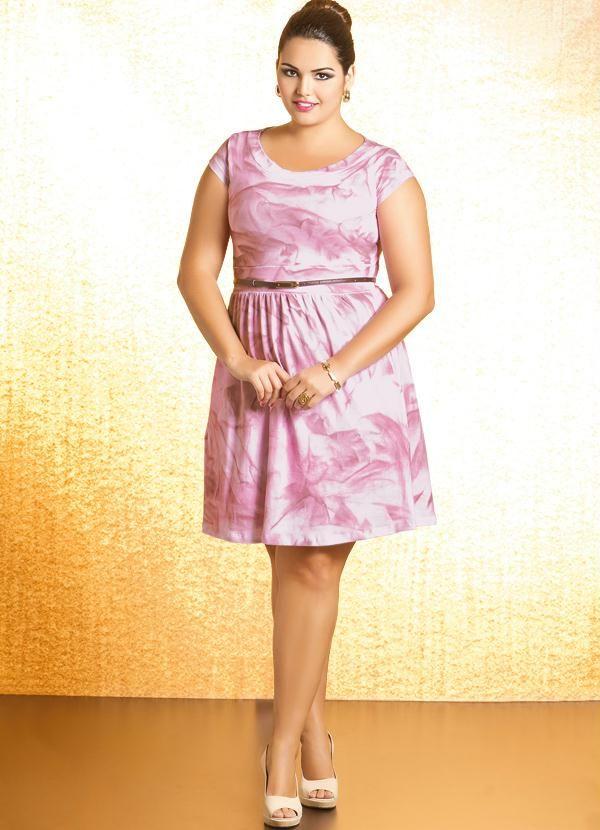 Vestido Plus Size com Estampa Efeito Spray Rosa - Quintess