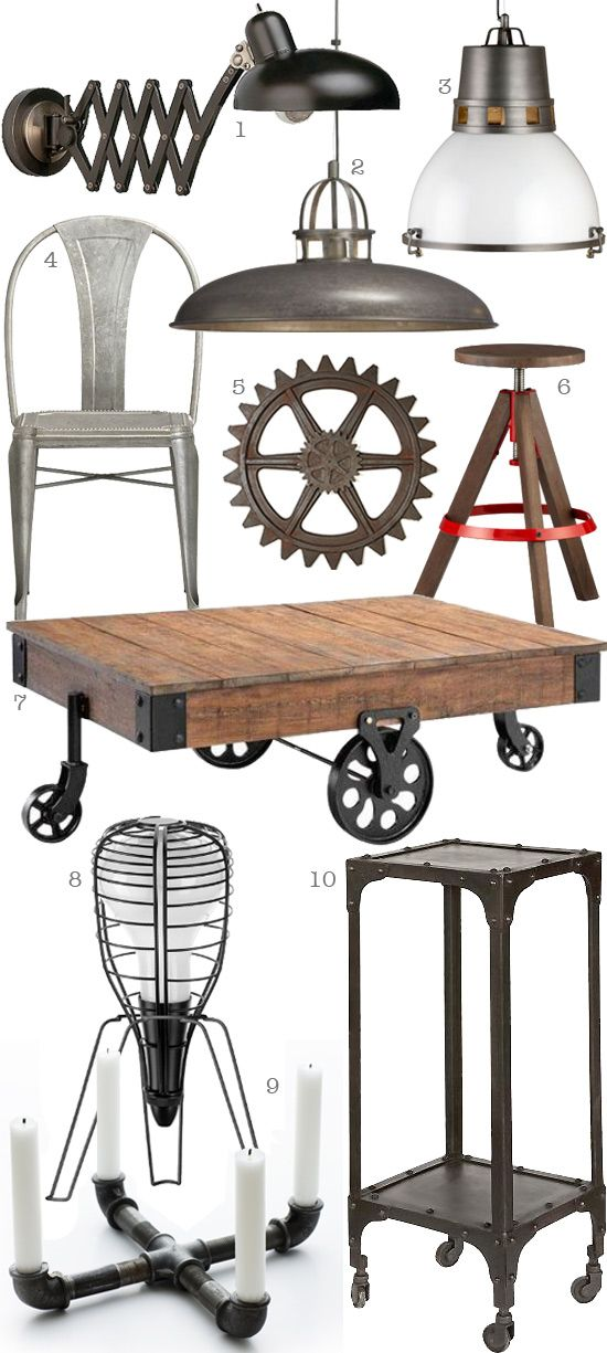 Industrial Chic Style Items. ( 1 ) Scissor Arm Pharmacy Lamp ( 2 ) Victory  Pendant Lamp ( 3 ) District Pendant Lamp ( 4 ) Lyle Side Chair ( 5 )u2026 |  Pinteresu2026