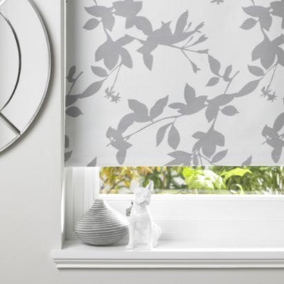Pheacia Patterned White Grey Roller Blind Pheacia For The Purple And Grey Tones In The Open Plan Living Ro Kitchen Blinds Bathroom Blinds White Roller Blinds