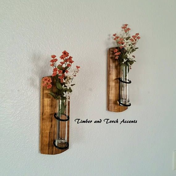 Wall Bud Vase Holder Wooden Wall Sconce Rustic Industrial