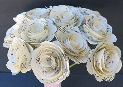 Paper Flowers Paper Flowers with Pearls Musical Sheets-Music Note Paper Flowers Music Sheets Flowers Music Teacher Gift Wedding Decor