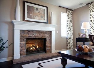 Beautiful Mantle With Rock Face And Hearth I Like The Low Hearths But Really Prefer A Flush H Corner Fireplace Living Room Home Fireplace Small Gas Fireplace