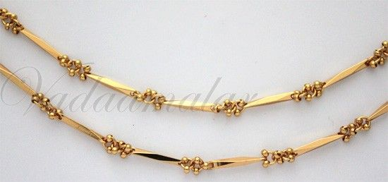 Paayal Kolusu Anklets 2 nos Micro Gold plated Leg Ornament Indian anklet  Jewelery c9966a62a8
