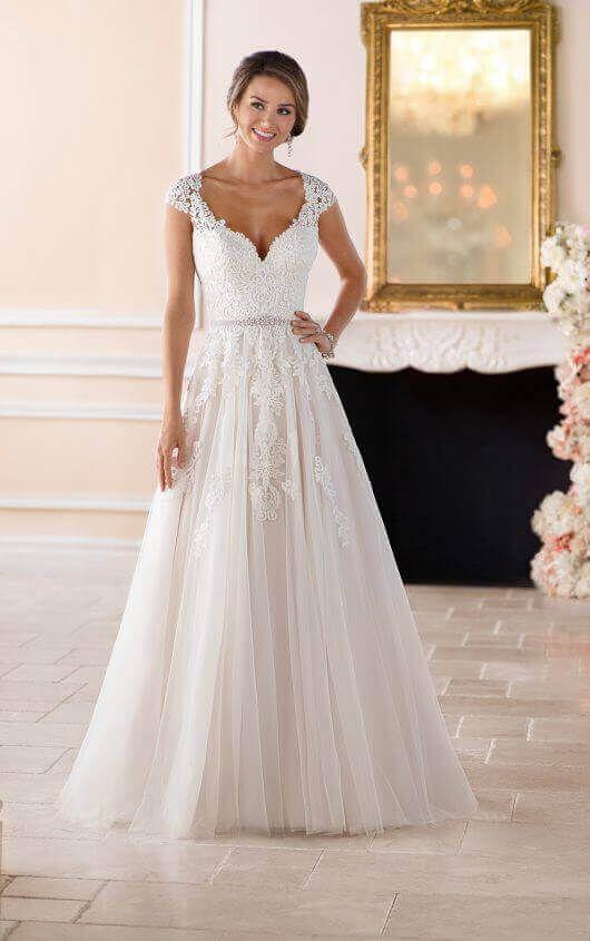 Brautkleid Mit Romantischen Cap-Ärmeln Und Illusion-Rücken