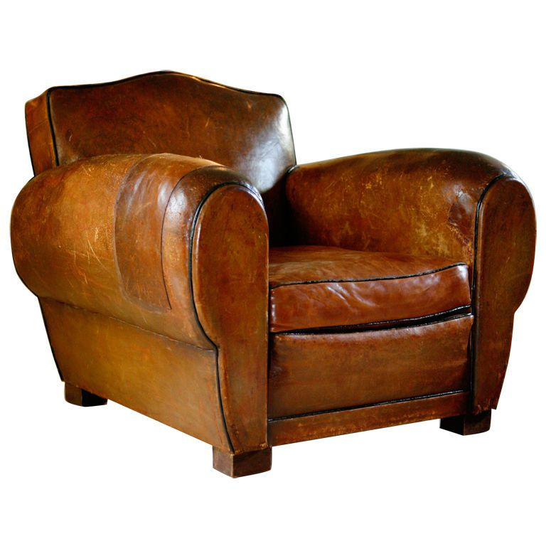 Pair of French Art Deco Vintage Leather Club Chairs - Pair Of French Art Deco Vintage Leather Club Chairs Leather Club