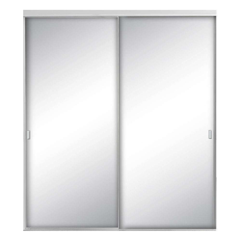 Contractors Wardrobe 48 In X 80 1 2 In Style Lite Satin Clear Mirror Aluminum Framed Interior Sliding Door Sty 4880scn2x The Home Depot Sliding Doors Interior Contractors Wardrobe Sliding Doors