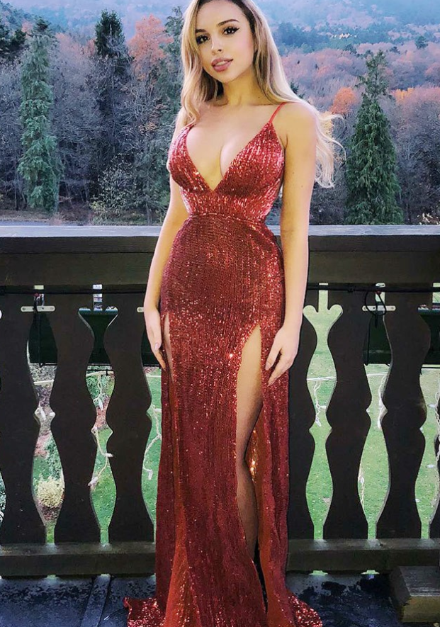 f7434a2f425 Sheath V-Neck Red Sequins Prom Party Prom Dress with Split